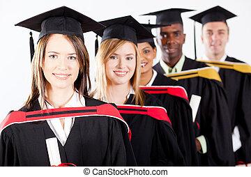 gruppo, di, multirazziale, laureati, a, graduazione