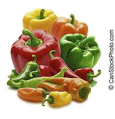 gruppo, di, peperoni
