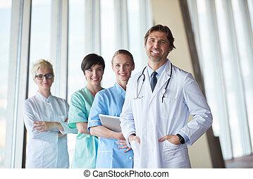 gruppo, di, personale medico, a, ospedale