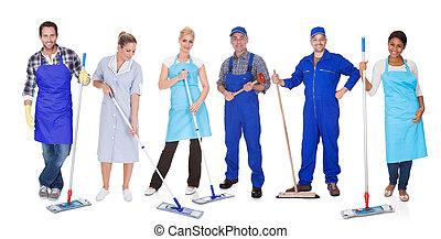 gruppo, di, pulitori, con, mocio
