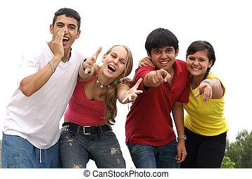 gruppo, di, sorridere felice, diverso, adolescenti, chiamata, o, gridare