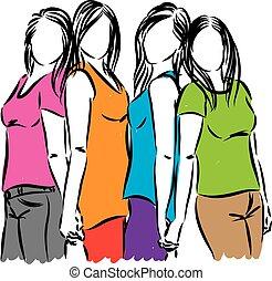 gruppo donne, amici, illustration.eps