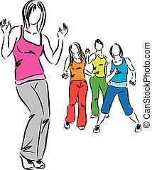 gruppo donne, ballo, illustrazione