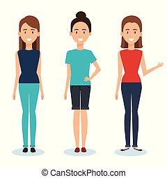 gruppo donne, caratteri