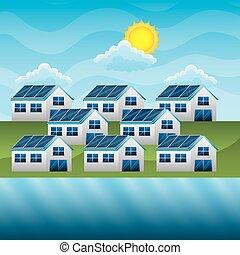 gruppo, energia pulita, case, solare, sun-, fiume, nuvola, pannello