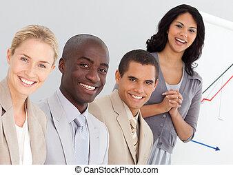 gruppo, giovane, persone affari