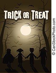 gruppo, halloween, bambini, trucco, foresta, notte, treat., o
