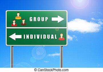 gruppo, icone, testo, persone, individual., tabellone