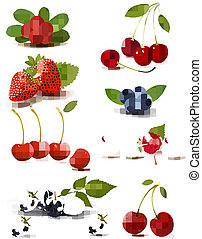gruppo, illustration., grande, vettore, cherries., fresco, bacche