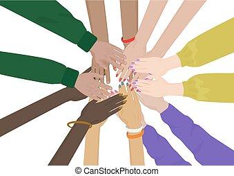 gruppo, isolated., mani, unity., insieme, diverso, squadra, amici