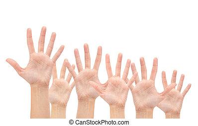 gruppo, isolato, aria, fondo, mani, bianco