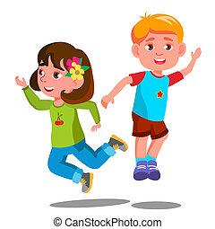 gruppo, isolato, insieme, saltare, illustrazione, vector., bambini, felice