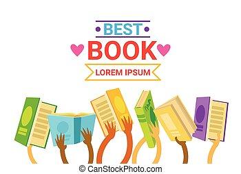 gruppo, libri, tenere mani, lettura, bandiera