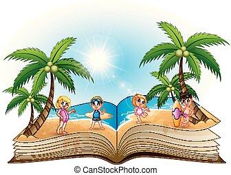 gruppo, libro aperto, spiaggia, bambini, felice