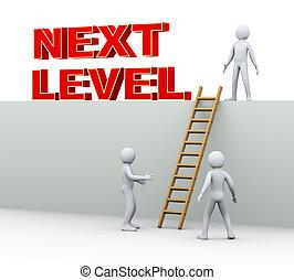gruppo, livello, persone, -, prossimo, uomo, 3d