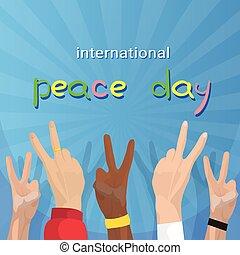 gruppo, manifesto, segno pace, mano, internazionale, mondo, vacanza