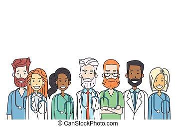 gruppo, medio, dottori, lavoro squadra, linea sottile