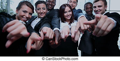 gruppo, multiethnic, persone affari, grande, loro, indicare barretta
