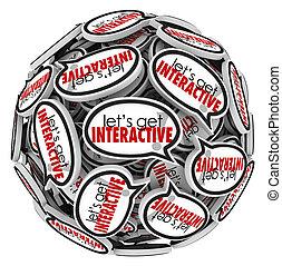 gruppo, ottenere, comunicazione, interacive, lets, discorso, bolle