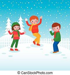 gruppo, palle neve, bambini giocando