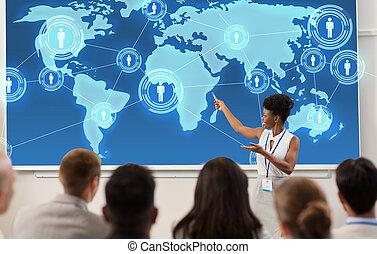 gruppo persone, a, conferenza affari, o, conferenza