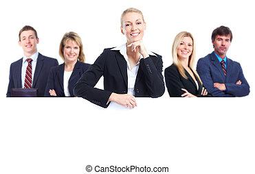 gruppo persone affari, con, banner.