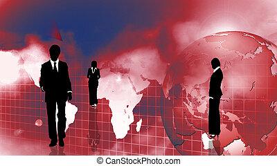 gruppo persone affari, esposizione, lavoro squadra