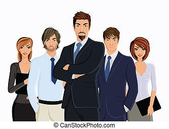 gruppo, persone affari