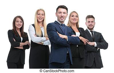 gruppo, persone affari, isolato, white., pieno-lunghezza, ritratto