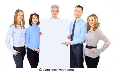 gruppo persone affari, presa a terra, uno, bandiera, annuncio, isolato, bianco
