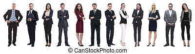 gruppo, persone affari, riuscito, isolato, bianco