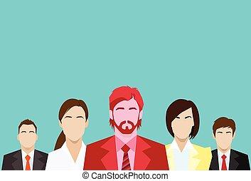 gruppo, persone affari, rosso, umano, squadra, uomo affari, risorse