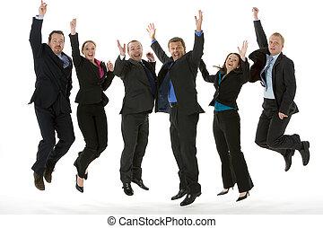 gruppo persone affari, saltando aria