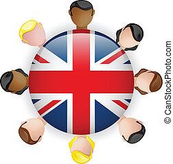 gruppo, persone, bottone, bandiera, lavoro squadra, regno...