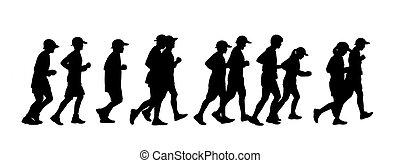gruppo persone, correndo