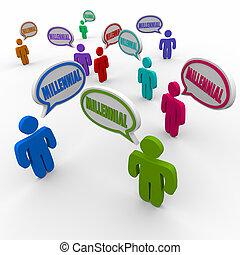 gruppo, persone, generazione, millenario, parlare, discorso, y, bolla