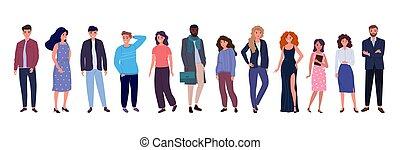 gruppo, persone, giovane