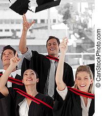 gruppo persone, laureandosi, da, università