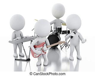 gruppo, persone., musica, fondo, bianco, 3d