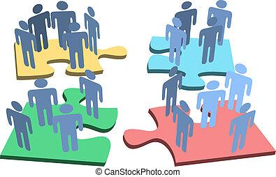gruppo, persone, puzzle, soluzione, pezzi, umano, organizzazione