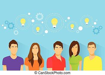 gruppo, persone, studenti, creativo, idea, diverso, avatar, squadra, icona