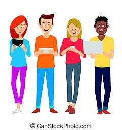 gruppo, persone, studenti, università, digitale, giovane, congegni, multirazziale, tendenze, break., usando, dipendenza, tecnologia, nuovo