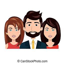 gruppo, persone, umano, squadra, cartone animato, risorse