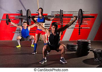 gruppo, peso, allenamento, barbell, esercizio, palestra,...