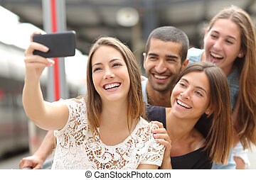 gruppo, presa, quattro, telefono, amici, selfie, far male