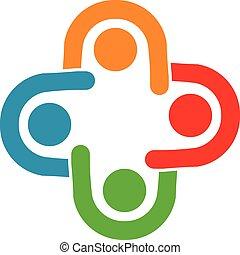 gruppo, relazione, persone affari, collaborazione, lavoro squadra, 4, riunione