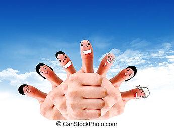 gruppo, rete, sociale, discorso, dito, facce, felice
