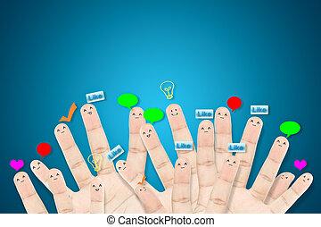gruppo, rete, sociale, dito, facce, felice