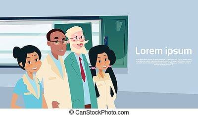 gruppo, ricoveri ospedale dottori, medio, gabinetto, squadra...