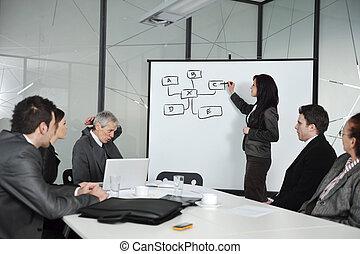 gruppo, riunione, ritratto affari